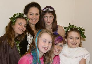 CYD Principal Elaine English with Eliza, Lucy, Bryony, Molly and Luciana