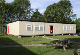 The completed, first pair of classrooms