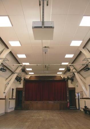 There are 16 new ceiling lights and 96 acoustic panels